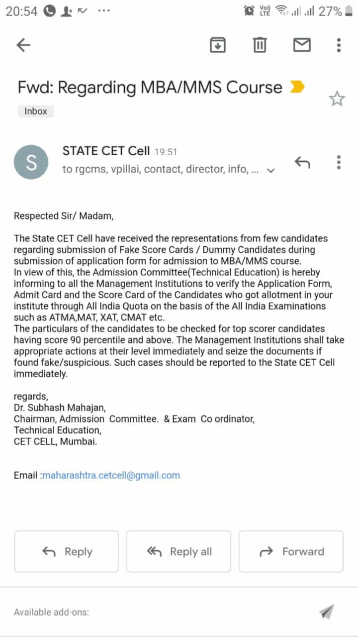 MBA CET CELL 2019